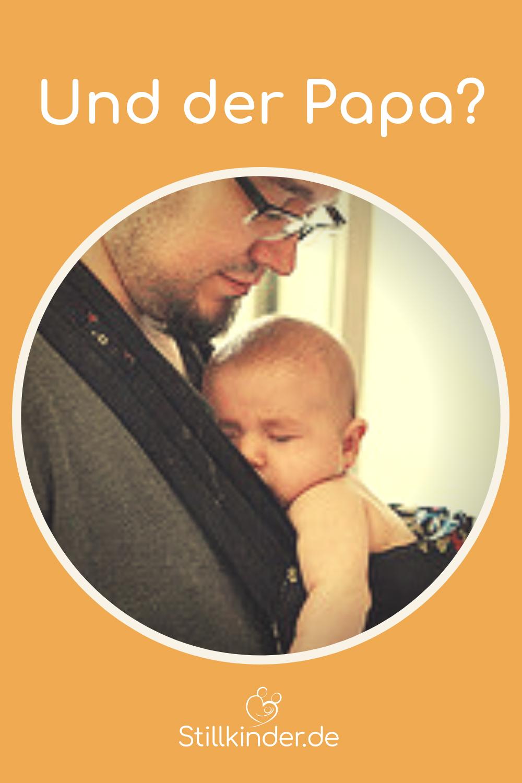727356e3afefd5 Vater mit schlafendem Baby im Tragesack
