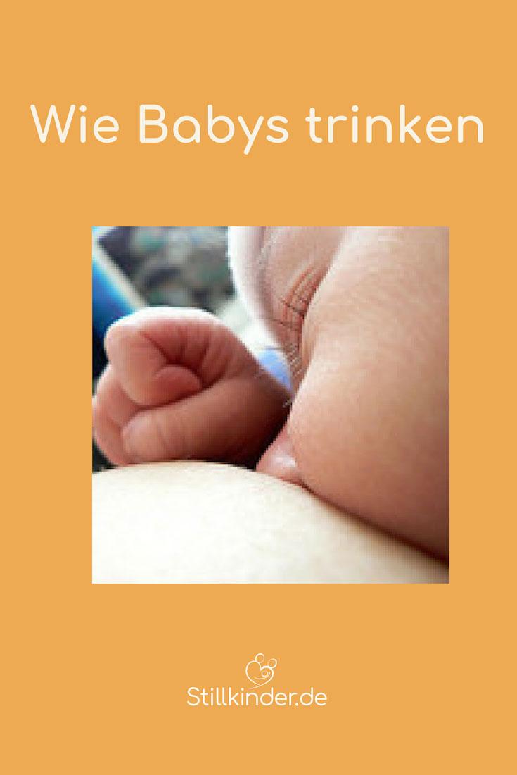Neugeborenes trinkt an der Brust