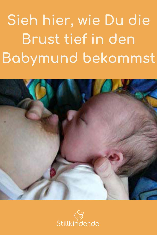 Brustwarze zeigt zur Nase nicht zum Mund des Babys